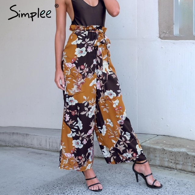 Simplee Print zipper belt casual pants capri trousers Flower female soft pants women bottoms Summer 2017 new high waist pants