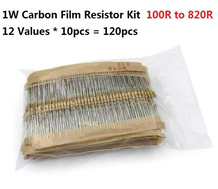 12 Values * 10 Pcs = 120 Pcs 100 Ohm-820 Ohm 1W 5% Carbom Fillm Resistor Kit set Berbagai Macam 150R 220R 470R 560R 680R Assortment Pack