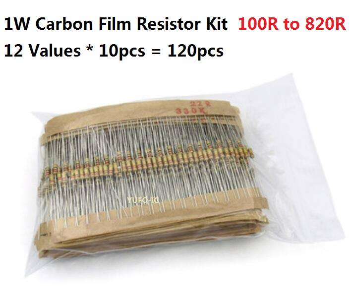 12 Values*10PCS=120PCS 100 Ohm-820 Ohms 1W 5% Carbom Fillm Resistor Kit Set Assorted 150R 220R 470R 560R 680R Assortment Pack