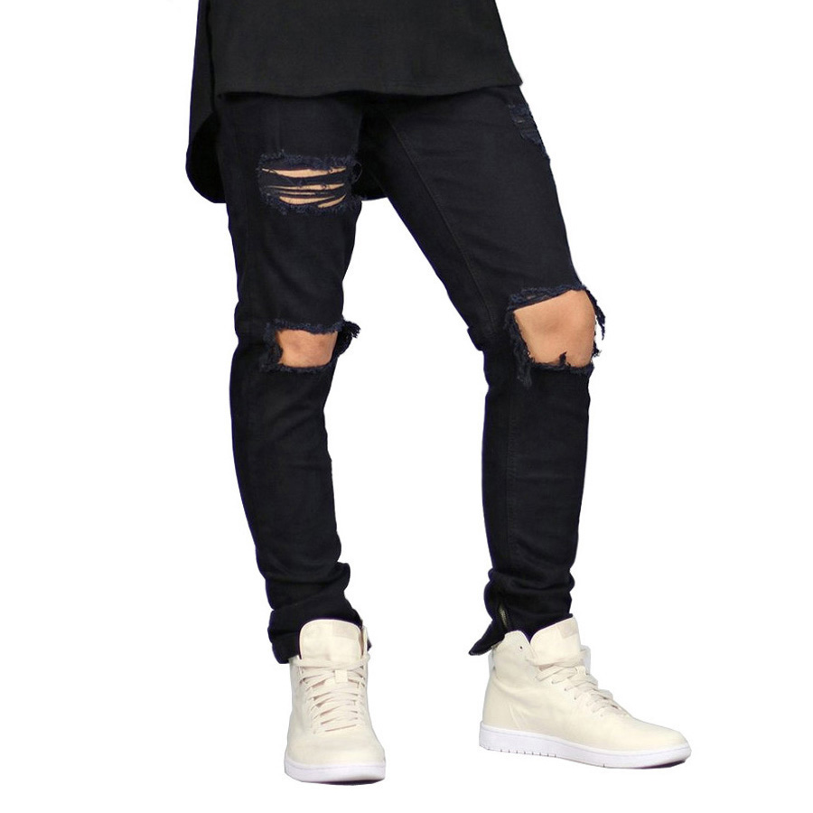 New Men Stretch Skinny Jeans Side Zipper Hip Hop Urban Destroyed Distressed Side Zipper Pencil Jeans