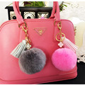 Metal Flower Leather Tassels Rabbit Fur PomPom  Fluffy Constitute Keychains Keyring  Car Key Chain for Women bag Charm Pendant