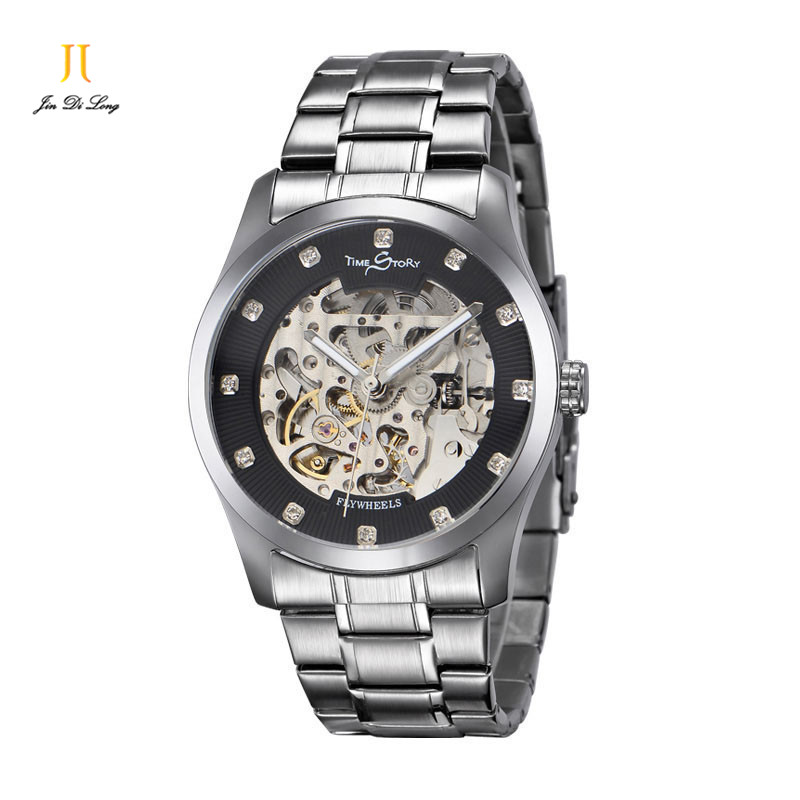 Brand Classic Fashion Casual Business Watch Men s Automatic Self Wind Skeleton Wrist watches Flywheel Luminous