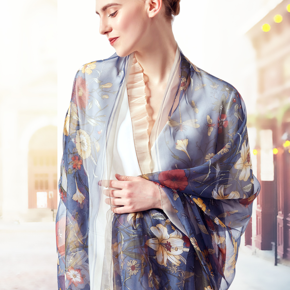 2019 Brand Silk   Scarf   Women Flowers Summer Shawl   Wrap   Designer Foulard Plus Size Female Neck   Scarves   Bandana