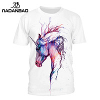 NADANBAO Fashion Summer T Shirt Women Animal Horse Tshirt 3D Printed Color Picture T Shirt