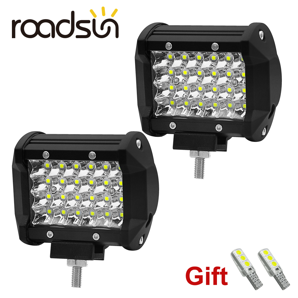 Roadsun 72W 6000K Car Led Work Light 12V Led Auto Lights Bar Off Road Lamp For Tractor 4x4 Trucks SUV Vehicles Boat Motorcycle