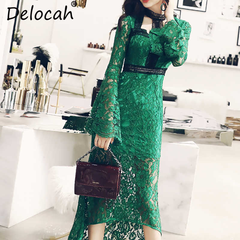 90998638998 Detail Feedback Questions about Delocah Autumn Women Dress Runway Fashion  Designer Flare Sleeve Gorgeous Lace Embroidery Elegant Slim Asymmetrical  Dresses ...