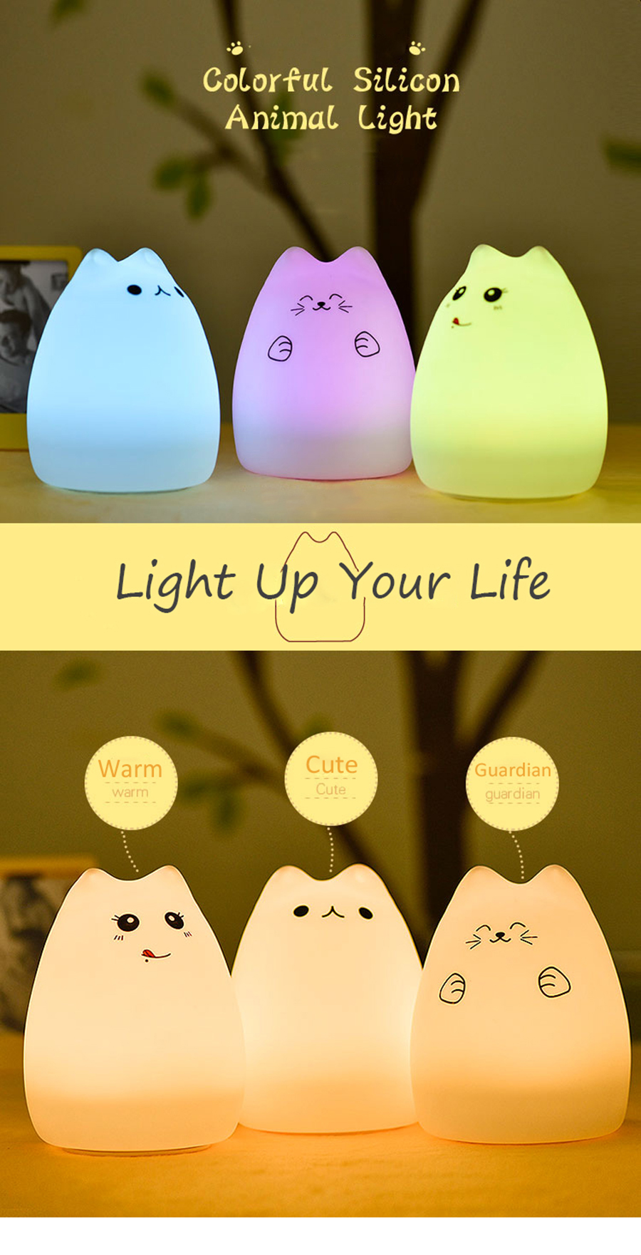 Pusheen Cat Soft Silicone LED Night Light