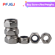 Peng Fa DIN985 M3 M4 M5 M6 M8 M10 M12 304 Stainless Steel Self-locking Nut Nylon Lock Nut Locknut Slip Nylon Hex Nut 10pcs lot m8 20 stainless steel 304 round spacer standoff connect nut od 16mm