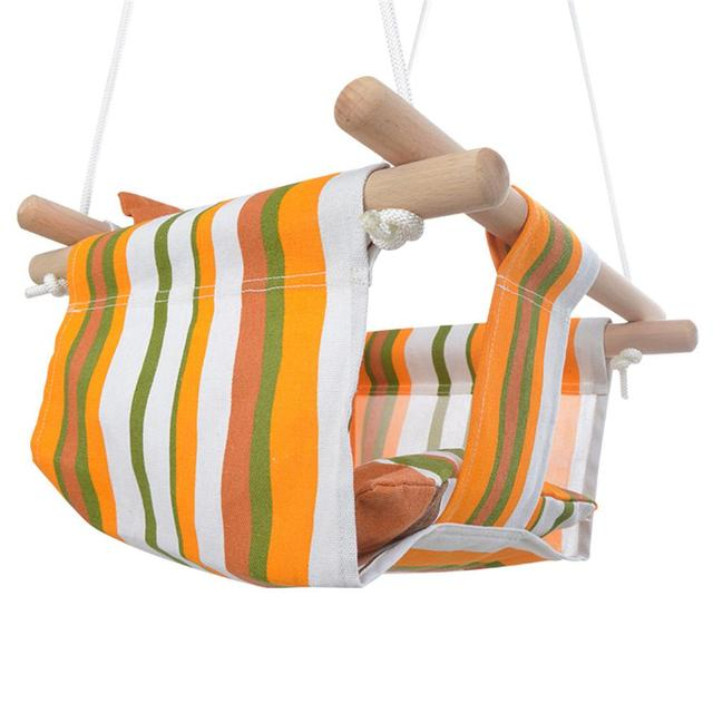 Safety Baby Hammock Swing Hanging Swing Chair Solid Wood Seat With Cushion