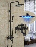 Wholesale And Retail LED 8 Square Rain Shower Head Faucet Tub Spout Vanity Sink Mixer Tap W/ Hand Shower Sprayer