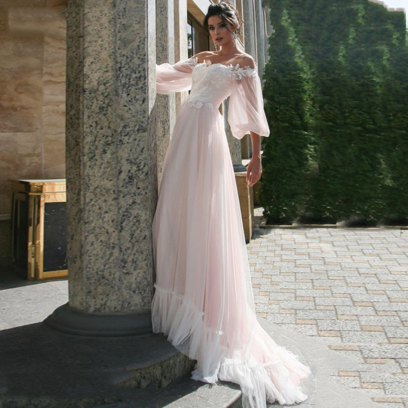 LORIE Boho pink Wedding Dress A Line Lace Appliques Puff Sleeves Bride Dress Wedding Gown Point