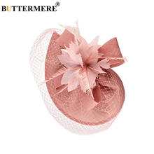 BUTTERMERE Women Hats For Church Pink Linen Fedora Hat Female Feather Mesh Elegant Wedding Party Ladies Bride Pillbox