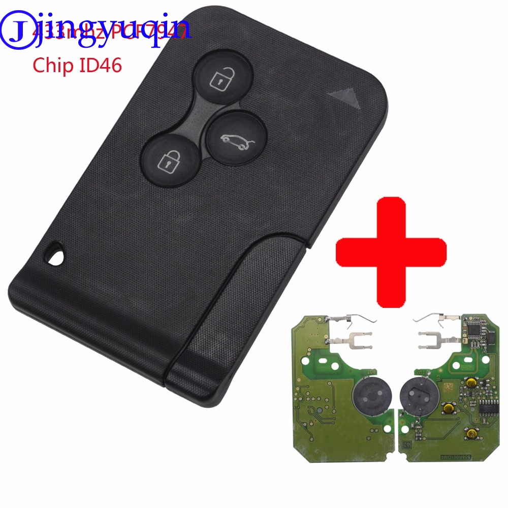 jingyuqin 3 Buttons Remote Card Key Smart Car Key Fob For Renault Megane Scenic 2003-2008 with Uncut Key Blade 434Mhz ID46 Chip ...