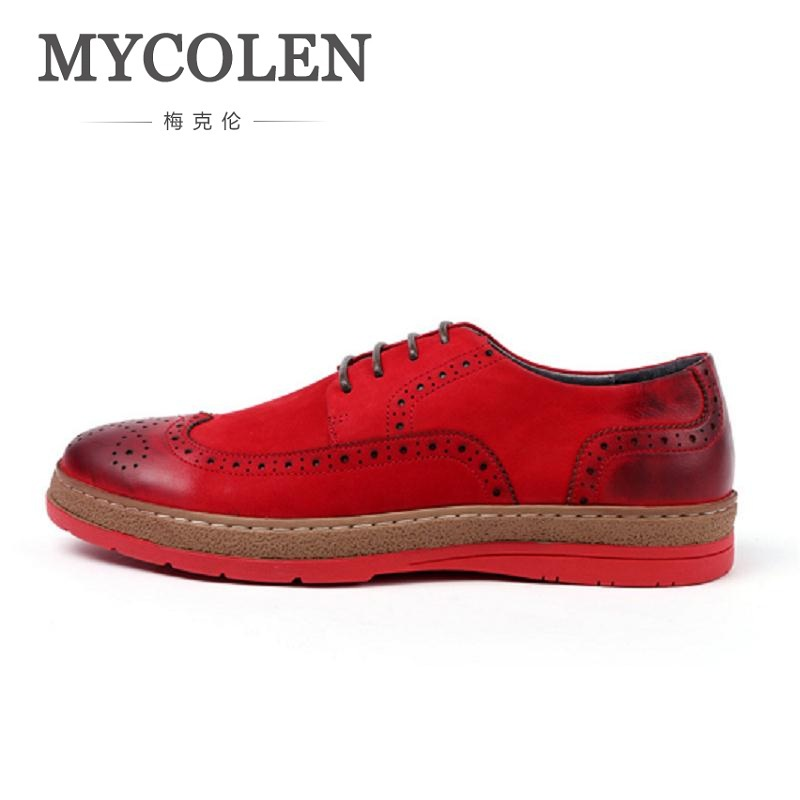MYCOLEN Mans England Brogue Style Black Casual Shoes Flat Platform Lace-Up Top Quality Heighten Carving Red Bottom Shoes Men casual woman british style flat retro shoes soft bottom lady outdoor driving shoes black brown wine red lace up peas shoes