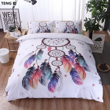 Hot! Hipster Watercolor Bedding Set King Queen Full Twin Size Dreamcatcher Feathers Duvet Cover Bohemian Printed Bed 3 Pcs