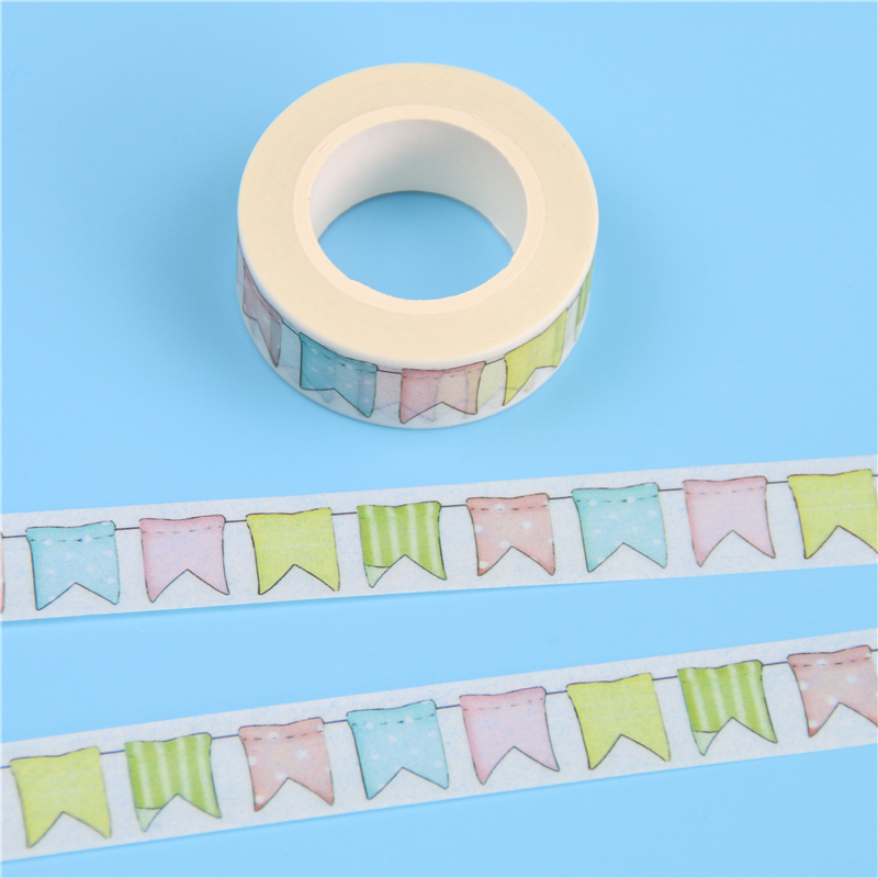 1 Pc / Pack 15mm*10m Japanese Washi Decorative Adhesive Tape Flags Pattern Masking Paper Tape Diary Sticker Gift Free Shipping