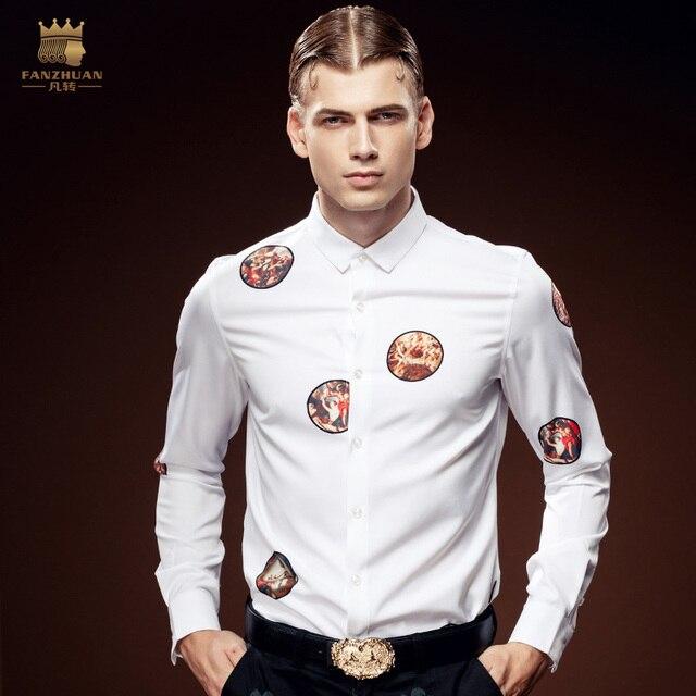 FanZhuan Бесплатная Доставка Новая мода случайные мужской мужской личности молодые рубашки тонкий вскользь DP живопись печати рубашка 612142