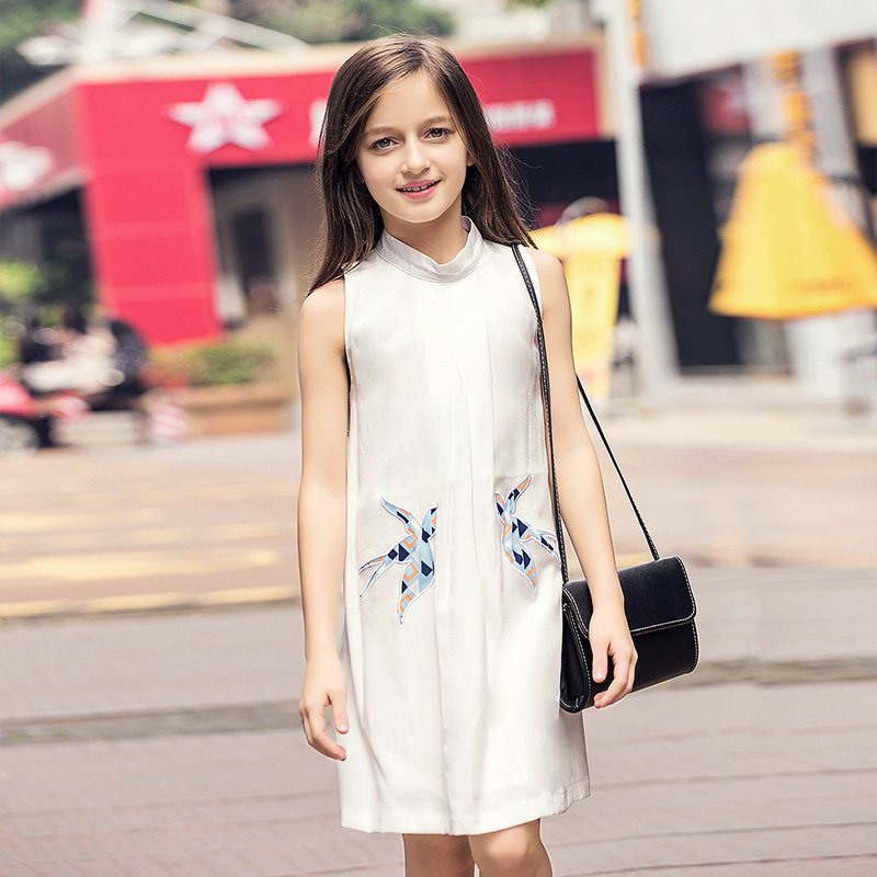 2016 Summer Girls Dresses Bird Print White Sleeveless Dress Clothing for Teen Girls Age 5 6 7 8 9 10 11 12 13 14T Years Old Kids topshop topshop to029ewpyr04
