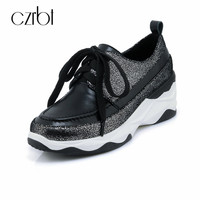 CZRBT Spring Autumn Brand New Genuine Leather Women Flatform Shoes 7cm Casual Lace Up Women Flats Shoes Round Toe Women Shoes