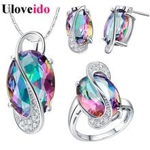 50% de descuento uloveido novias joyería de la boda establece para las mujeres 925 pendientes de plata esterlina anillo de collar de la joyería nupcial conjunto subestación blindada t155