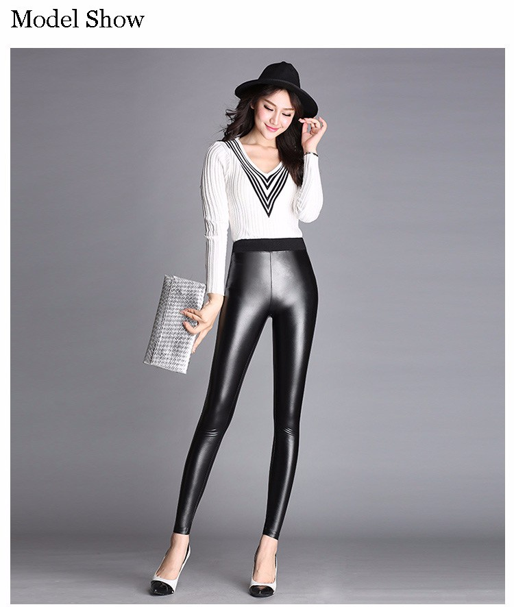 2016 Women Spring Autumn Skinny PU leather pencil Leggings slim Faux Leather Black Sexy Pants female High Waist trousers A651 a