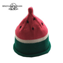 BINGYUANHAOXUAN Fashion Winter Baby Hat Lovely Cap For Warm Children Fruit Color Knitted Kids Brand Boy Girl