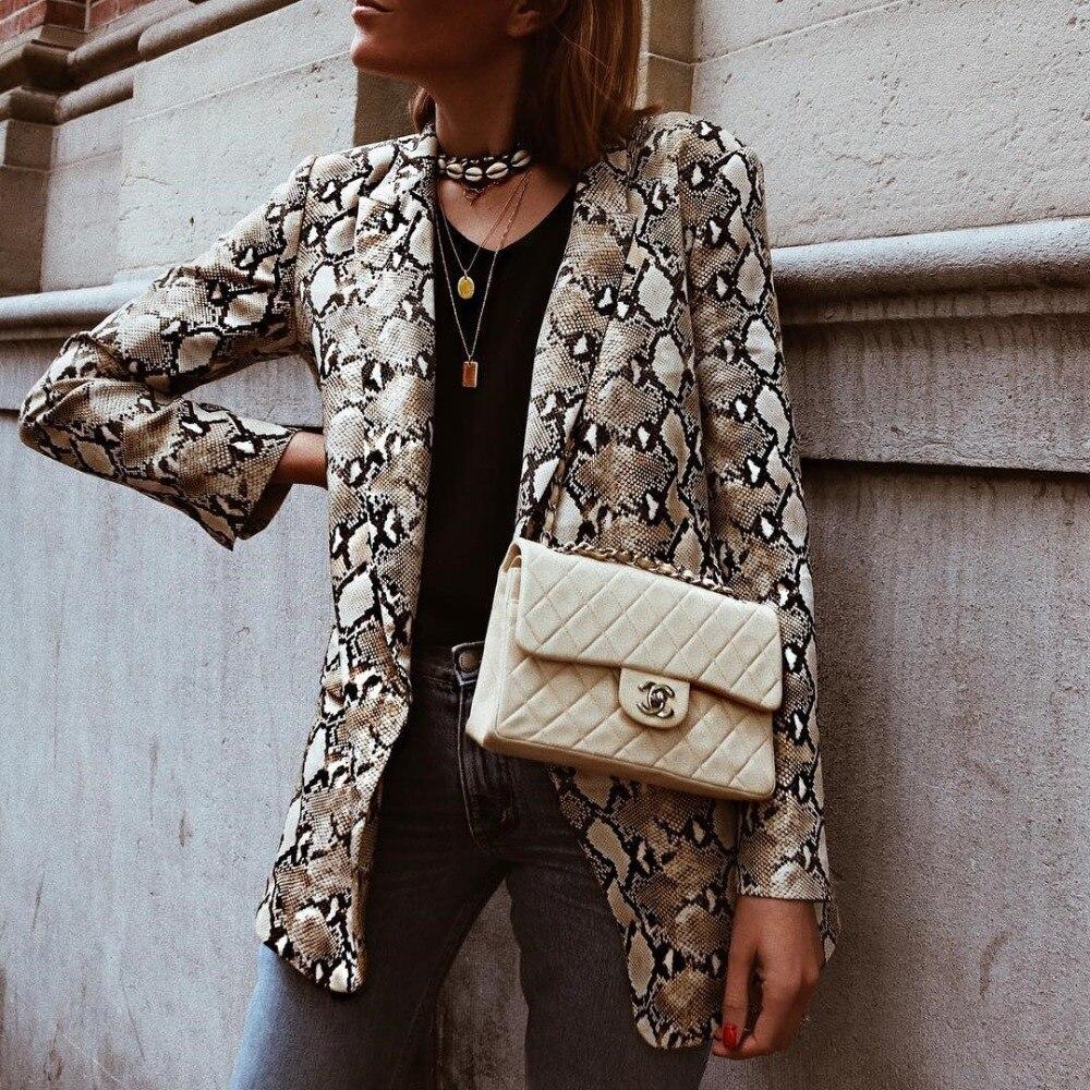 2019 Women England Style Snake Print Blazer Pockets Notched Collar Long Sleeve Coat Female Outerwear #6