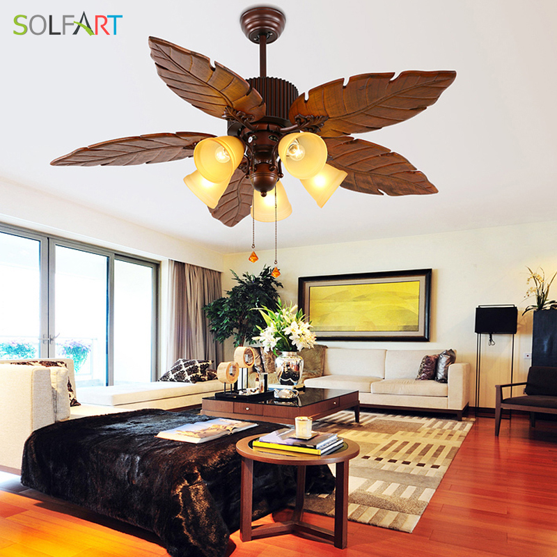 SOLFART ceiling fan lamp crystal roof fan with remote control invisible fan wood engraving blades Security