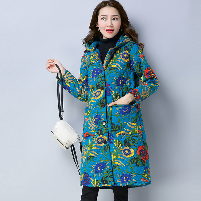 2017 New Autumn Parka Jacket Women Winter Flower Print Coat Womens Long Cotton Padded Hooded Jacket Coat High Quality Outerwear new 2017 winter autumn cotton long coats jacket women hooded padded parka