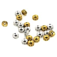 50pcs Round  Metal Gasket Loose Spacer Beads For Jewelry Finding Handmade DIY Necklace Bracelet Accessories Wholesale