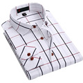 Осень Новый Бренд Мужские Рубашки Повседневные Клетчатые Рубашки Мужчин Длинные рукавом Slim Fit Хлопок Рубашки Мужские Плед Линии Мода Camisa Masculina