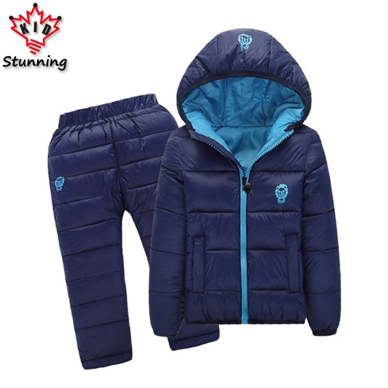 2-7 Years 2Pcs Boys Coats and Pants 2017 Winter Snow Wear Girls Down Jackets Warm Kids Clothes for Girls Clothing Sets