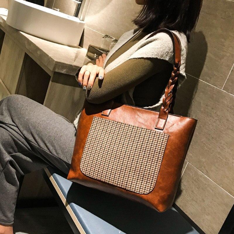 2 pièces sacs composites Vintage femmes Sac à main Femme sacs à bandoulière en cuir femmes fourre-tout décontracté casual Shopping Sac pied de poule Sac Femme