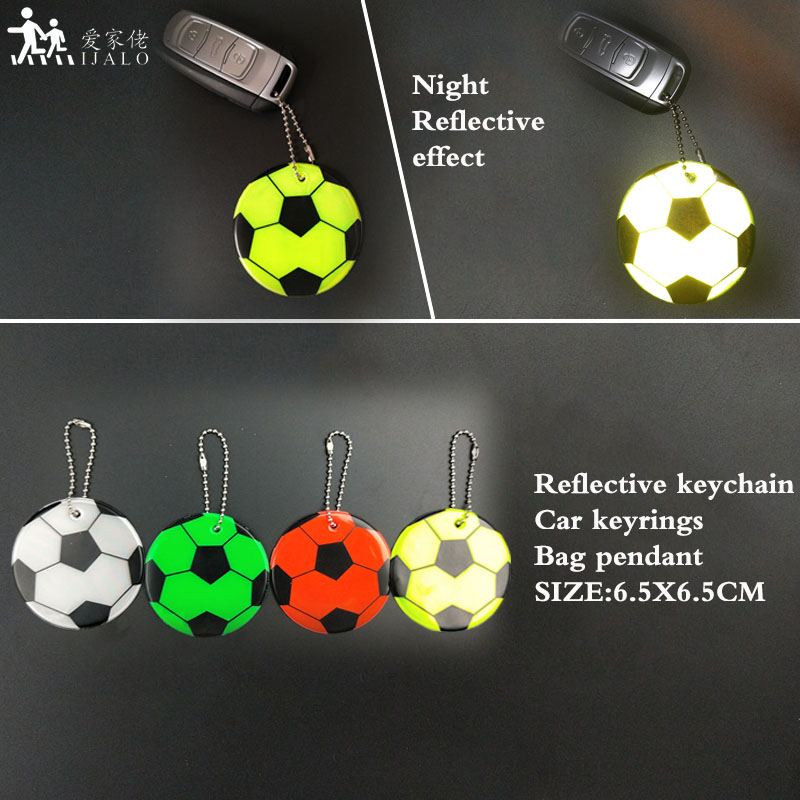 Football pattern soft PVC Reflective keychain traffic safety bag pendant accessories for road visibility safety use