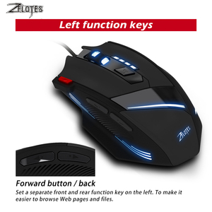 Image 2 - ZEALOT T 60 Wired Gaming Mouse 7 button 3200 DPI 4 Color LED Light Optical USB Computer Gamer Mice for PC laptop