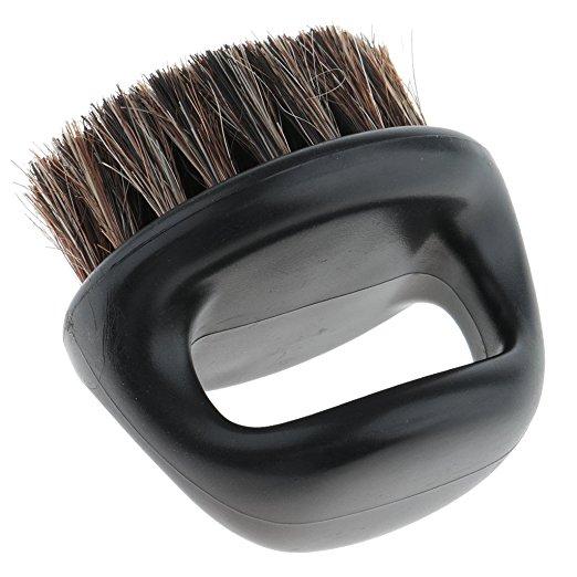 Pro Hairdresser Dust Brush Anti Static Boar Bristle Ring Beard Comb Salon Hair Sweep Brushes Shaving Facial Men's Mustache Brush(China)