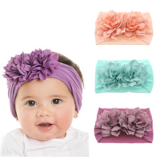 Cute Newborn Toddler Baby Girls Head Wrap Double Lotus Flowers Knot Turban Headband Hair Accessories Birthday Gifts for 0-3Y