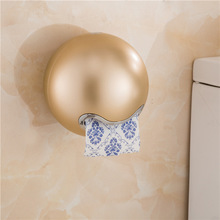 Creative Carton Suction Cup Toilet Towel Rose Gold Paper Holder  Shelf Basket