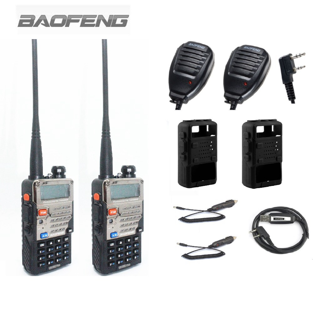 2PCS BAOFENG UV-5RE+Plus Walkie Talkie Two Way Radio+2 Speaker Mic +1 Programming Cable +2 Silikon Case+2 Car Charger Cable