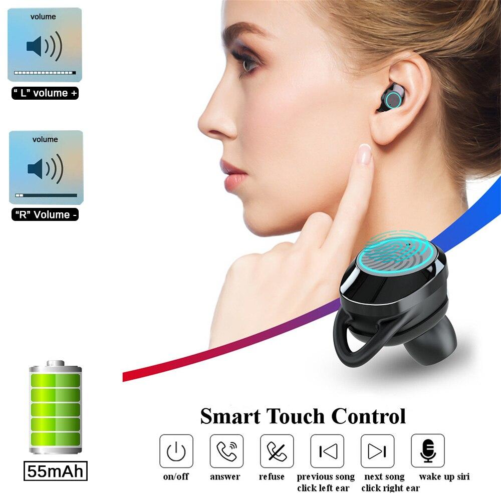 G02 TWS 5.0 Bluetooth 6D Stereo Earphone Wireless Earphones IPX7 Waterproof Earphones 3300mAh LED Display Smart Power Bank