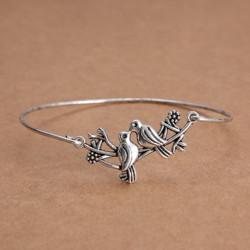 Wire Bracelets With Charms: LOVE BIRD Infinity Minimalist Handmade Wire Charm Bangle