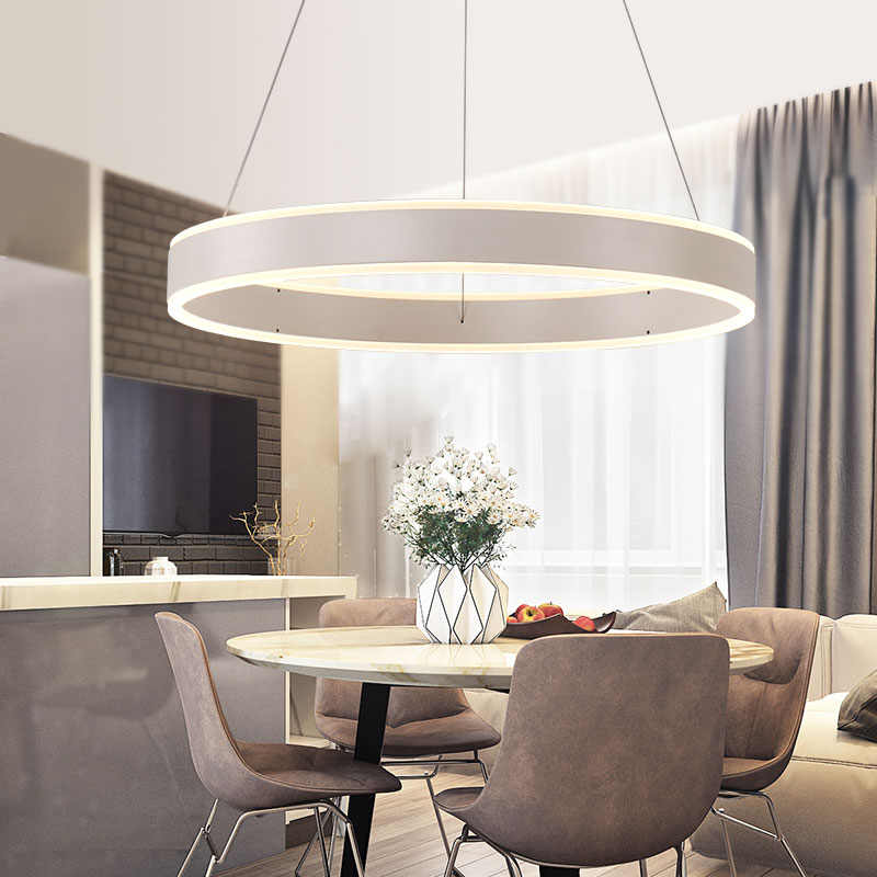 New Circel Rings Up Down Modern LED Pendant Lights Round Hanging Lamp For Dining Room Living