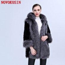 цена на SC288 S-3XL Thick Long Faux Fox Fur Coat Winter Warm Open Stitch Slim Plush Coat 2018 Women Cardigan With Trim Hood Fur Hat