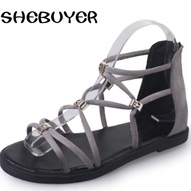 9d1c5763f106 2017 Summer Fashion Women Rome Flat Sandals Cover Heel Lace Up Flat with  Woman Shoes back zipper ladies charm shoes