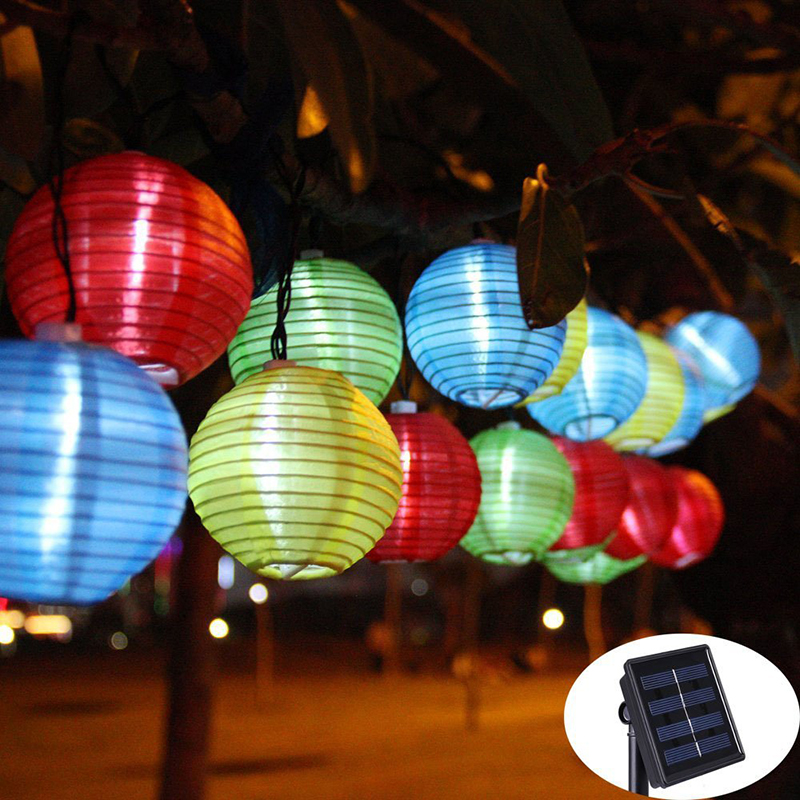 Lantern Ball Solar String Lights 20 LED Solar Lamp Outdoor Lighting Fairy Globe Christmas Decorative Light for Party Holiday