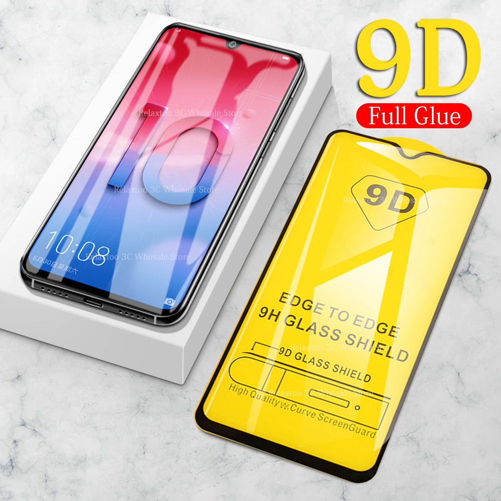 9D Full glue tempered glass on honor 10 lite 9 light screen protector For huawei honor 8s 8c 8x 10i 20 pro 9x safety protective image