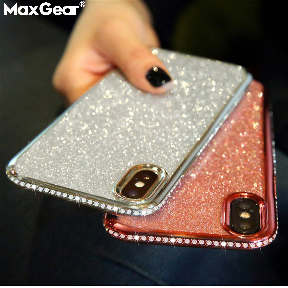 Rhinestone Cases For SamSung Galaxy S7 Edge S8 S9 S10 Plus S10E J7 A8 A6 A7 2018 Note 8 9 A40 A70 A10 A50 M20 M10 Glitter Covers(China)
