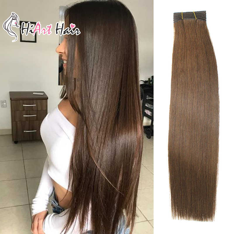"HiArt 100g/pc Weft Hair Extensions In Human Hair Extensions Salon Dark Color Hair Double Drawn Brown Hair Weft 18"" 20"" 22"""
