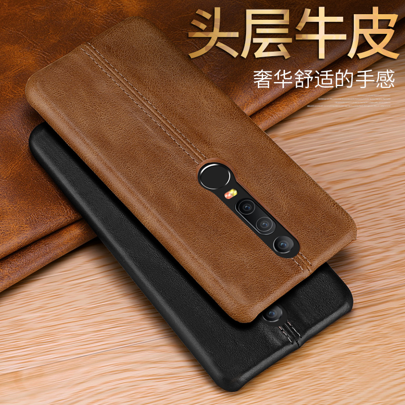 CYBORIS for Oneplus 6 Case Oneplus6 Genuine Leather Case For One plus 6 Six A6000 A6003 Stitching Pattern Cow Leather Back Cover