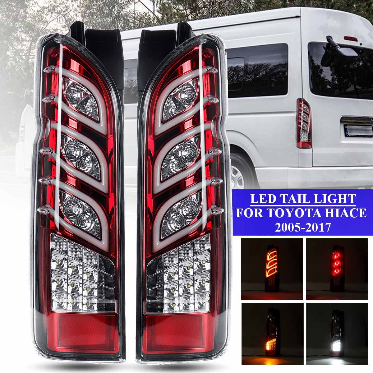 Led Tail Light FOR TOYOTA HIACE 2005 2017 Taillight Rear Reverse Brake Light Fog Light Lamp Drl Accessories Red Shell